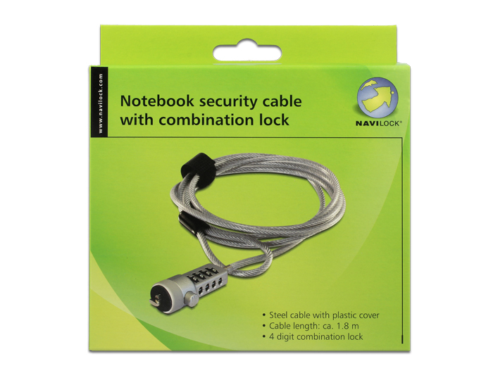 navilock notebook security cable with combination lock. Black Bedroom Furniture Sets. Home Design Ideas